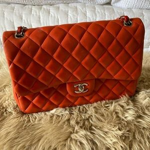 CHANEL Classic Red Lambskin Quilted Double Flap